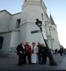 Gray Line Pirate Tour guide Lori Dowden, Pat Gallagher, Louisiana Society State President of Daughters of 1812, Nadine Meyer, Jerry Songy and Lea Martin, State Chairman of the Chalmette Battlefield