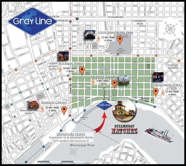 Tour Departures & Driving Directions | Gray Line New Orleans on midtown manhattan hotels map, french quarter district map, large french quarter map, hotels near grand canyon map, french quarter street map, riverside hotels map, pittsburgh hotels map, french quarter property map, french quarter interactive map, new orleans hotels map, michigan avenue hotels map, st. martin french quarter map, downtown cleveland hotels map, charleston hotels map, avondale hotels map, denver hotels map, french quarter restaurant map, fisherman's wharf hotels map, french quarter walking map, best french quarter map,
