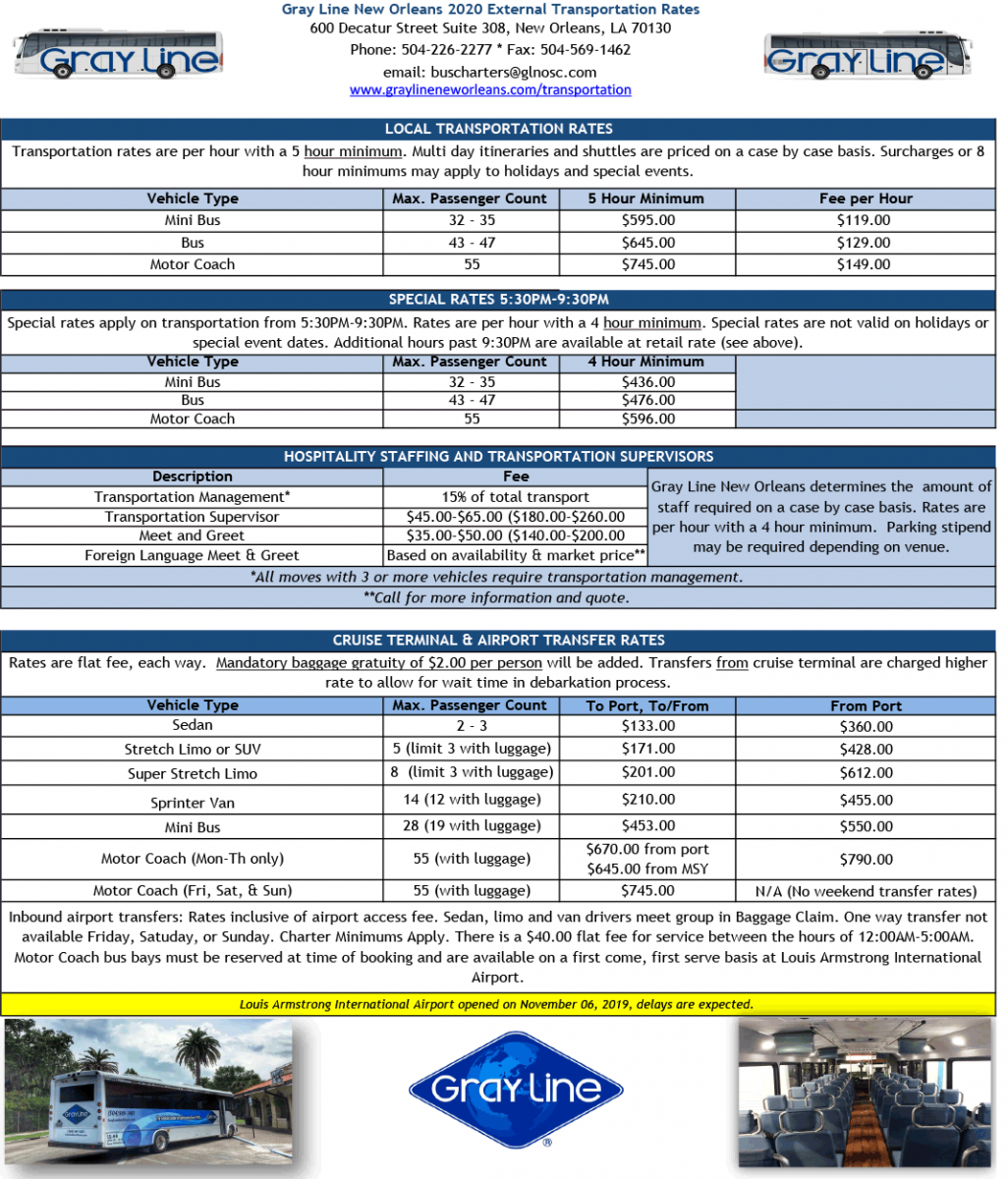 Transportation Rates Sheet 1