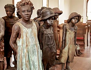 Historical statues at the Whitney Plantation